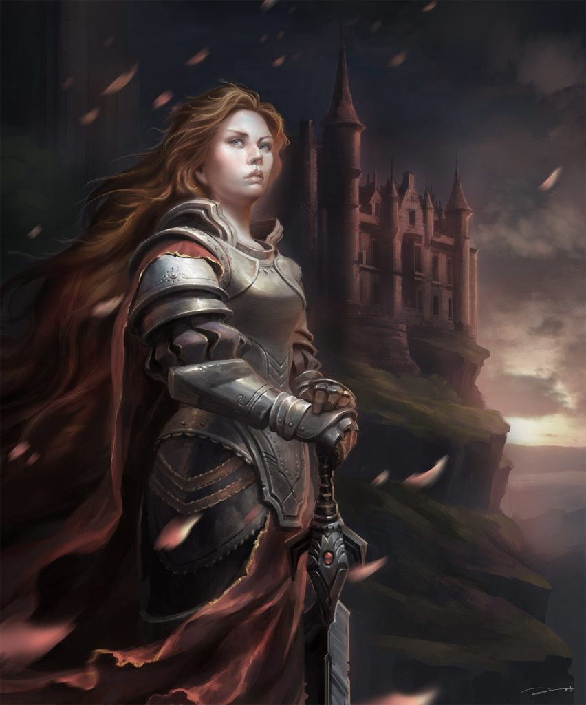 Painting of a queen in front of her castle, wearing armor