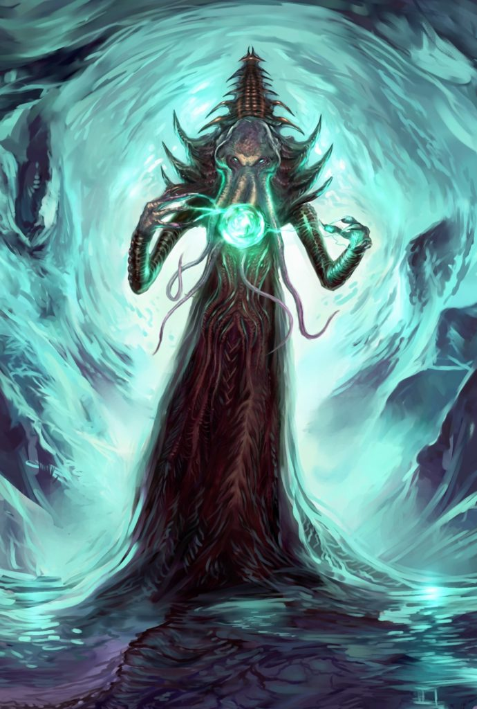 Painting of an Illithid creating a ball of psychic energy